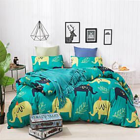 preiswerte Karikatur-Duvet-Abdeckungen-Bettwäschesets aus ultraweichem Polyester / Polyamid mit Cartoon-Elefanten-Aufdruck. 3-teilige Bettwäschesets