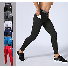 cheap Running, Jogging & Walking-YUERLIAN Men's Leggings Running Tights Compression Pants with Phone Pocket Elastane Sports Tights Leggings Running Fitness Workout Breathable Quick Dry Sweat-wicking Solid Colored White Black Red