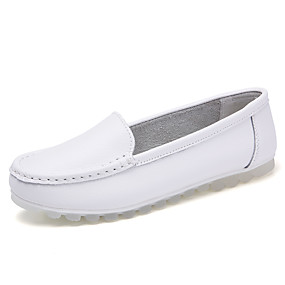voordelige Damesinstappers & loafers-Dames Loafers & Slip-Ons Platte hak Ronde Teen Leer Informeel Lente zomer / Herfst winter Wit