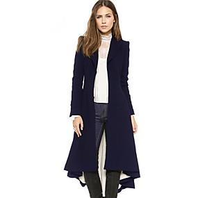preiswerte Damenbekleidung-Damen Alltag Lang Mantel, Solide Gekerbtes Revers Langarm Polyester Schwarz / Marineblau