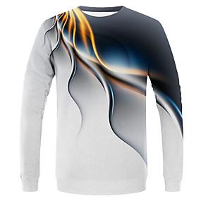 preiswerte 3save10% 5save20%-Herrn Einfarbig / Solide - Street Schick / Übertrieben EU- / US-Größe T-shirt, Rundhalsausschnitt Weiß / Langarm