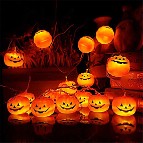 cheap LED String Lights-Halloween Pumpkin LED String Lights 2pcs 1.5m 10 LED Pumpkins Lights Garden Home Party Decoration Holiday Halloween Theme Accessories Cosplay Supplies