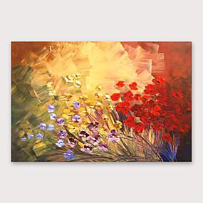 preiswerte Neue im Sortiment-Hang-Ölgemälde Handgemalte - Abstrakt Blumenmuster / Botanisch Modern Fügen Innenrahmen