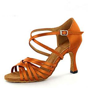 preiswerte Tanzschuhe-Damen Tanzschuhe Satin Schuhe für den lateinamerikanischen Tanz Farbaufsatz Absätze Keilabsatz Maßfertigung Braun