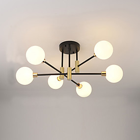 cheap Dimmable Ceiling Lights-6-Light 65 cm Flush Mount Lights Metal Glass Sputnik Electroplated Painted Finishes Modern Nordic Style 110-120V 220-240V G9