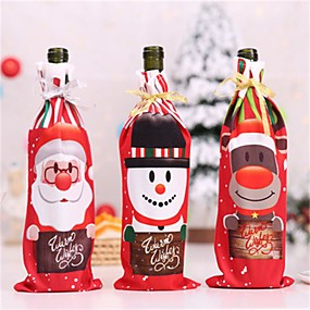 cheap Christmas Decorations-Table Decor Dinner Party Red Wine Christmas Santa Tree Bottle Cover Bags Sets Bottle Deco For New Year Xmas Dinner Party