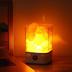 cheap LED Smart Home-Crystal Light Natural Himalayan air purifying Salt Lamp Air Purifier Mood Creator Indoor Warm Light Table Lamp For Bedroom Lava Lamp USB  1pc