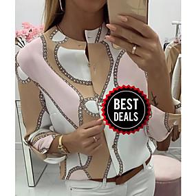 preiswerte Damenbekleidung-Damen Geometrisch Bluse Rosa