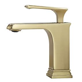 preiswerte Armaturen-Waschbecken Wasserhahn - Wasserfall Gebürstetes Gold Freistehend Einhand Ein LochBath Taps