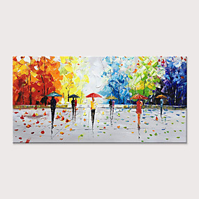 cheap Wall Art New Arrivals-Oil Painting Hand Painted - Abstract Landscape Modern Rolled Canvas