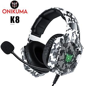 levne Hraní her-ONIKUMA K8 Herní sluchátka Kabel Hraní her Stereo Dvojité ovladače s mikrofonem