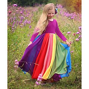 preiswerte Baby & Kinder-Kinder Baby Mädchen Aktiv Boho Solide Patchwork Langarm Maxi Kleid Fuchsia