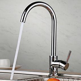 billige Kjøkkenkraner-Kjøkken Kran - Enkelt Håndtak Et Hull galvanisert standard Tut Frittstående Moderne Kitchen Taps