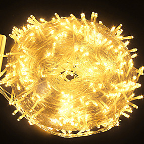 cheap LED String Lights-50m 164ft LED String Lights 400 LEDs for Christmas Tree Décor 8 Modes Warm White White Blue Christmas New Year's Waterproof Wedding Party Fairy Twinkle String Lights