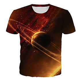 cheap Athleisure Wear-Men's T shirt Shirt Galaxy Graphic 3D Plus Size Print Short Sleeve Daily Tops Basic Exaggerated Round Neck Orange / Club