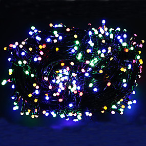 cheap Plug in Electric-100m Black Cable String Lights Outdoor String Lights 500 LEDs Warm White RGB White Christmas New Year's Party Decorative Holiday high brightness  EU UK plug 220-240 V 1 set