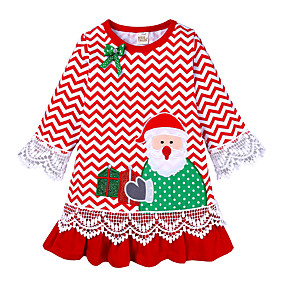cheap Christmas Deals-Kids Toddler Girls' Active Cute Santa Claus Striped Christmas Embroidered Long Sleeve Knee-length Dress Red