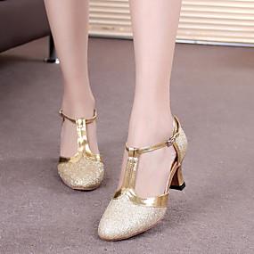 preiswerte Tanzschuhe-Damen Tanzschuhe Kunststoff Schuhe für modern Dance Schnalle / Pailetten Absätze Kubanischer Absatz Schwarz / Silber Gray / Purpur / Leistung / Praxis