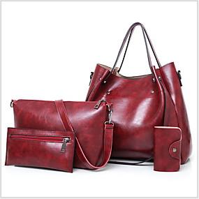 cheap Christmas Shop-Women's Zipper PU Bag Set 4 Pieces Purse Set Black / Light Gray / Red