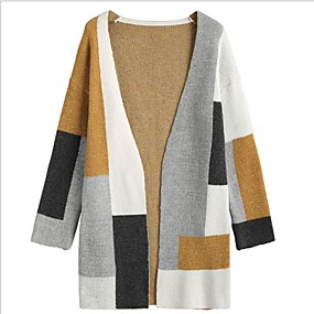 preiswerte Neu Eingetroffen-Damen Einfarbig Langarm Strickjacke Pullover Jumper, V-Ausschnitt Beige S / M / L