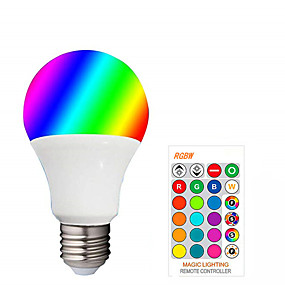 cheap Light Bulbs-1pcs LED E27 RGBW LED Bulb 85-265V Dimmable Globe Bubble Lamp A50 Spotlight With 24 Key Controller