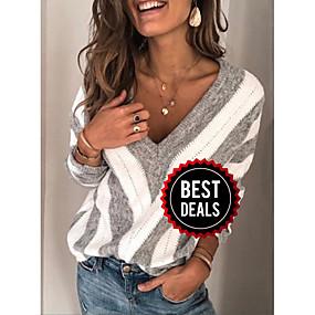 preiswerte Damenbekleidung-Damen Gestreift Langarm Pullover Pullover Jumper, V-Ausschnitt Wein / Purpur / Blau S / M / L
