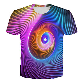 cheap Athleisure Wear-Men's T shirt Graphic 3D Plus Size Print Short Sleeve Daily Tops Basic Exaggerated Rainbow