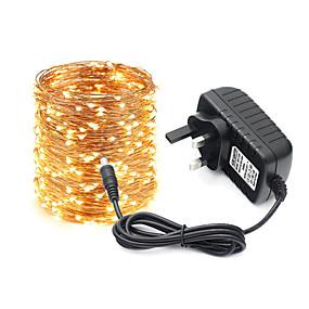 povoljno Svjetlosne trake i žice-KWB 10m Žice sa svjetlima 100 LED diode 1 X 12V 3A napajanje 1set Toplo bijelo Bijela Više boja Halloween Božić Kreativan Party Ukrasno 100-240 V