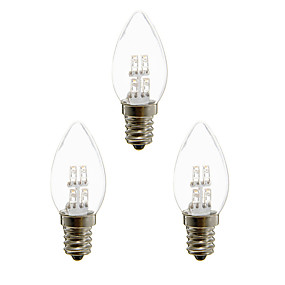 billige Stearinlyslamper med LED-3pcs 1 W LED-lysestakepærer 20 lm E12 4 LED perler Dyp Led Dekorativ Varm hvit Hvit 100-240 V