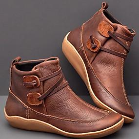 preiswerte Komfort-Schuhe-Damen Stiefel Komfort Schuhe Flacher Absatz Runde Zehe PU Booties / Stiefeletten Herbst Winter Schwarz / Braun / Pink