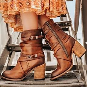 billige Mote Boots-Dame Støvler Tykk hæl Rund Tå Gummi / Fuskepels Støvletter Høst vinter Svart / Brun / Gul