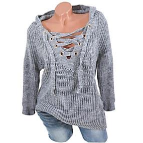 preiswerte Neu Eingetroffen-Damen Freizeit mit Schnürung Solide Langarm Pullover Pullover Jumper, V-Ausschnitt Frühling / Herbst / Winter Schwarz / Weiß / Rosa S / M / L