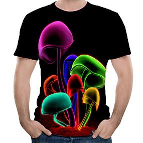preiswerte Herrenmode-Herrn Einfarbig / 3D / Grafik - Street Schick / Übertrieben T-shirt Druck Schwarz