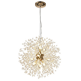 cheap Globe Design-12-Lights Modern Electroplated Globe Chandeliers Firework Led Nordic Style Pendant Lights Living Room Dining Room G9 Bulb Base