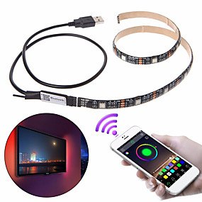 cheap Light Strips & Strings-1set LED Light Strips RGB Tiktok Lights DC 5V USB 5050 RGB 2m Bluetooth APP Control Flexible Light TV Background Light RGB LED Tape
