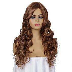 preiswerte Puppenperücken-Synthetische Perücken Locken Seitenteil Perücke Lang Braun Synthetische Haare 20 Zoll Damen Verstellbar Hitze Resistent Damen Braun
