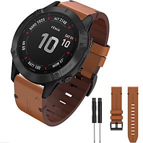 baratos Acessórios para Smartwatch-pulseira de relógio para abordagem s60 / fenix 5 / fenix 5 plus garmin fivela clássica / fivela moderna / pulseira de negócios pulseira de couro genuíno para garmin fenix 6 / fenix 6 pro