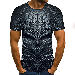 cheap Happy Halloween-Men's Daily Plus Size T-shirt 3D Graphic Skull Print Short Sleeve Tops Streetwear Exaggerated Round Neck Black Blue Purple