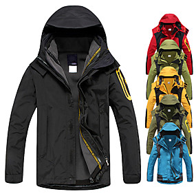 cheap Camping, Hiking & Backpacking-Men's Hoodie Jacket Hiking 3-in-1 Jackets Winter Outdoor Patchwork Thermal Warm Waterproof Windproof UV Resistant 3-in-1 Jacket Softshell Jacket Top Full Length Visible Zipper Skiing Camping / Hiking