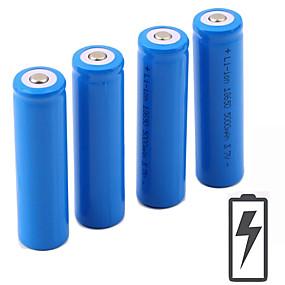 baratos Liquidação-Li-Ion 18650.0 Bateria 5000 mAh 4pçs 3.7 V Recarregável Portátil para Lanterna Bike Light Lâmpadas Frontais Acampar e Caminhar Caça Pesca