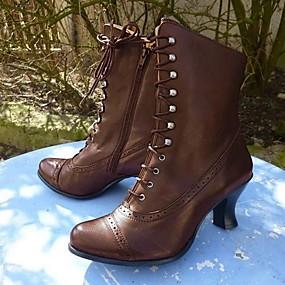preiswerte Damenschuhe-Damen Stiefel Komfort Schuhe Niedriger Heel Runde Zehe PU Booties / Stiefeletten Herbst Winter Schwarz / Braun / Grau