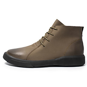 cheap Shoes & Bags-Men's Combat Boots Leather Winter Boots Mid-Calf Boots Black / Khaki