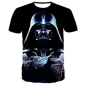 preiswerte Herrenmode-Herrn 3D EU- / US-Größe T-shirt, Rundhalsausschnitt Schlank Schwarz / Kurzarm