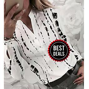 preiswerte Damenbekleidung-Damen Geometrisch Hemd, V-Ausschnitt Weiß