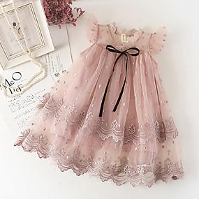 preiswerte Baby & Kinder-Baby Mädchen Süß nette Art Solide Spitze Ärmellos Knielang Kleid Weiß