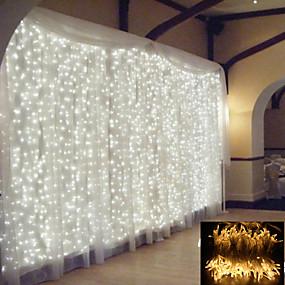 povoljno Svjetlosne trake i žice-2x2M Savitljive LED trake Žice sa svjetlima 200 LED diode 1pc Toplo bijelo Bijela Više boja Božić Novogodišnji Vodootporno Ukrasno Božićni vjenčani ukrasi 220-240 V
