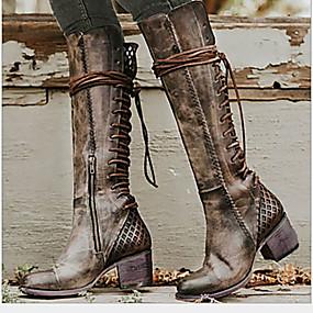 preiswerte Damenschuhe-Damen Stiefel Komfort Schuhe Niedriger Heel Runde Zehe PU Mittelhohe Stiefel Herbst Winter Braun / Grau