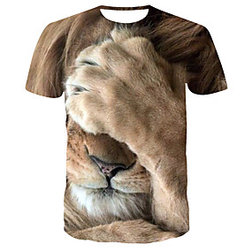 cheap Athleisure Wear-Men's T shirt Shirt 3D Print Graphic Tiger Animal Print Short Sleeve Daily Tops Streetwear Punk & Gothic Round Neck Yellow / Summer / Club