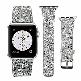 cheap Smartwatch Bands-Apple Watch Leather Band 38mm 40mm 42mm 44mm Woman Bling Glitter Strap Replacement iWatch Series 5 4 3 2 1 Sport Edition