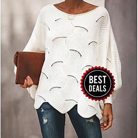 preiswerte Damenbekleidung-Damen Solide Langarm Aufflackern-Hülsen- Pullover Pullover Jumper, Rundhalsausschnitt Frühling / Herbst Schwarz / Weiß / Rosa S / M / L